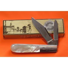 Russell Green River Works Barlow Pocket Knife w Great Mother of Pearl Handles amp Blade Etch - NOS