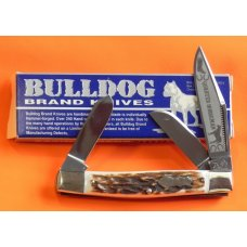 "2nd Gen Bulldog Brand ""Quarter Horseman"" Stockman Knife w/ Great Stag Handles & Frost Blade Etch"