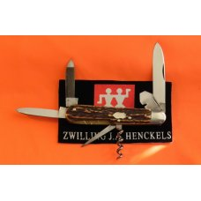 Antique J A Henckels 6 Blade Multi Blade/Tool Knife w Great Stag Handles &Long Arm Twin Men - RARE!