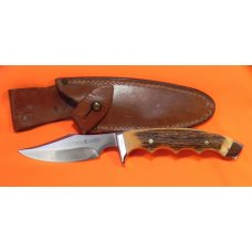 Vintage J A Henckels Safari Skinning / Hunting / Camping knife w/ Orig Sheath & Great STAG Handles!