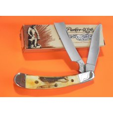 Vintage Parker Alabama USA Large Razor Pocket Knife w/ Torched Stag Handles - NOS in Original Box