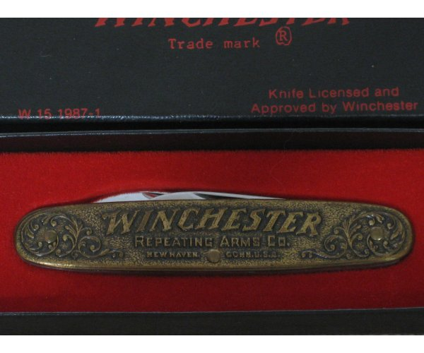 Winchester Repeating Arms Co. Model 1873 Brass Handle 2 Blade Pocket Knife