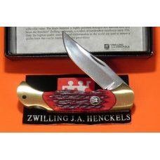 J A Henckels Folding Hunter Pocket Knife with Red Pick Bone Handles -NOS Orig Box
