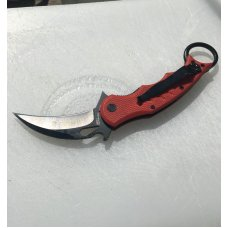 FOX Karambit Folder - strong solid lock-up, Red G-10 scales, pocket clip. Very sharp