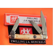 J A Henckels 3 Blade Stockman Pocket Knife HK-3-BWP w Natural Torched Bone Handles NOS amp MNM