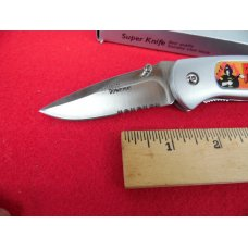 GREAT GIFT KNIFE ALUMINUM/STAINLESS PARTIALLY SERRATED  UNUSED FIRE DEPT IN BOX