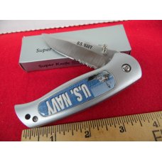 GREAT GIFT KNIFE ALUMINUM/STAINLESS PARTIALLY SERRATED  UNUSED U.S.NAVY IN BOX