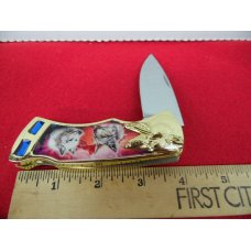"COLORFUL WOLVES KNIFE BRASS LOOKS LIKE GOLD WITH IMITATION JEWELS APPROX.4"" CLOSED MINT IN BOX"