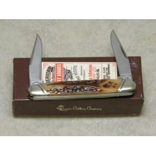 Schatt & Morgan Keystone Series XX Reverse Worm Groove Bone 042121 Small Muskrat Knife in Box c.2010