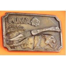 Hard to come by Vintage 1977 Used Puma Brand Nicely Detailed Belt Buckle -Mt Vernon NY -Numbered
