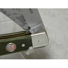 "Boker Germany Green Bone World War II Commemorative ""D-Day June 6, 1944"" Trapper Knife in Box c.1994"