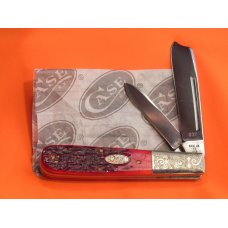 1987 Case xx Razor Knife w Great Red Pick Bone Handles MDL R62005 SS Fancy Scrolled Bolsters -NOS