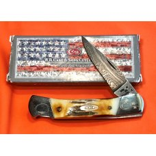 Case xx 1989 Lock Back Hunter Knife 51405 L D -Great Stag Handles amp Damascus Blade -NOS
