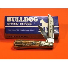 Vintage Bulldog Brand HAND MADE 2 Blade quotOur Bestquot Tobacco Barlow w Fantastic Deer Stag Handles