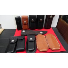 LEATHER SHEATHS FOR VARIOUS SIZE KNIVES 11 TOTAL ALL LIKE NEW AS USED VERY LITTLE NOT WORN