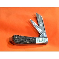 Battle Axe Hickey & Shouse, 2 Blade Barlow w/ Dark to Black Bone Handles +Battle Axe Blade Etch