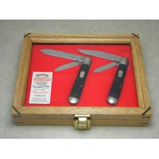 Schatt & Morgan 1st File & Wire Set 1996 Green & Blue Bone 042229 & 042129 English Jack Knives