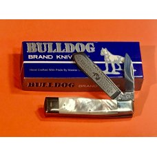 Hand Made Bulldog Brand 2 Blade Gunstock Knife w Flashy Mother of Pearl Handles Blade Frost amp Etch