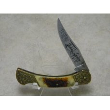 United Cutlery Custom Made UC410 Bone Etched Duck Scenery Lockback Knife