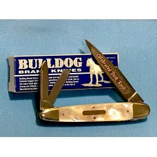 Vintage Bulldog Brand 3 Blade Celebrated Dirk Knife Whittler w Flashy Mother of Pearl Handles -NOS