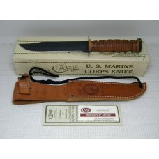 Case XX Bradford PA USMC 1998 USA Stacked Leather Fixed Blade Fighting Knife amp Sheath in Box c2004