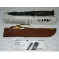 Ka-Bar Olean NY quot100 Years 1898-1998quot Stacked Leather 1241 USMC Fixed Blade Knife amp Sheath in Box