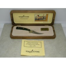 Schrade  USA LTD Green Bone 20012002 Federal Duck Stamp Commemorative Fixed Blade Knife in Box