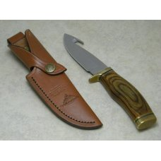 Buck USA 119 Legendary Whitetails Wood Zipper Guthook Skinner Fixed Blade Sheath Knife c2002