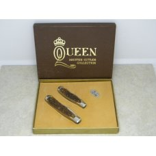 "Queen USA Rogers Bone ""Master Cutler Collection"" Trapper and Mini Trapper Knife Set in Box c.1977"