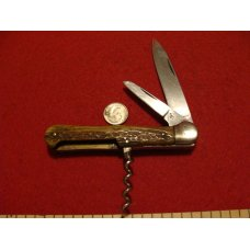 Robert Klaas Antique Kissing Crane Solingen Corkscrew Stag Handle Pocket Knife