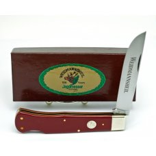 WEIDMANNSHEIL-LARGE RED LOCKBACK- CELLULOID HANDLES-BOAR SHIELD -SOLINGEN-NIB W252