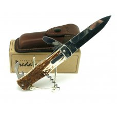 MIKOV PREDATOR AUTOMATIC 4 BLADES 2 BOTTLECAN OPENERS CORKSCREW STAG HANDLES  LEATHER SHEATH NIB