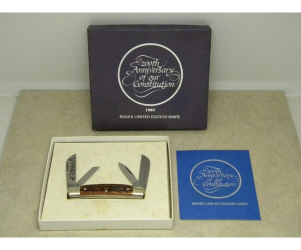 Boker Solingen Germany Bone Congress Knife LTD. 1987 200th Anniversary of our Constitution in Box
