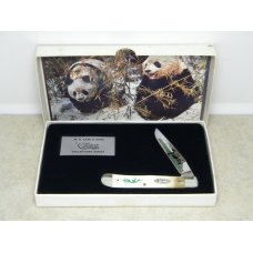 Case XX Bradford PA USA 1990 White Bone W154 SS Giant Panda Endangered 1 Blade Trapper Knife in Box