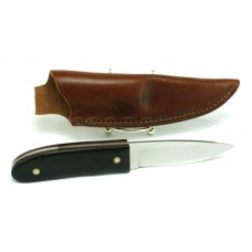 WEBB amp FISHER FIXED BLADE CUSTOM MADE KNIFE W LEATHER SHEATH WOOD HANDLES  FULL TANG 8 1 4quot