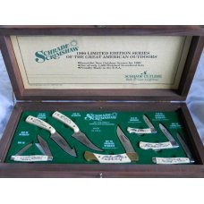 Schrade 1990 Great American Outdoors Scrimshaw Set USA Mint