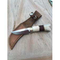 USA maker, hand forged, stout-small game fixed blade, easy to carry, sheath.