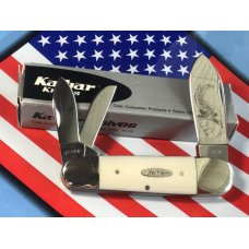 Ka-Bar ka bar ElephantToenail Whittler Pocket Knife -Imitation Ivory Bone Handles amp Blade Etch -NOS