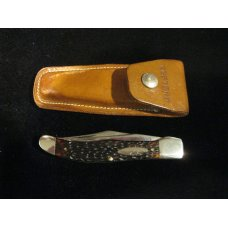 Western 062 Large Hunting knife with Sheath MADE IN THE USA 1977 Tang stamped A Nutcase Stk  098