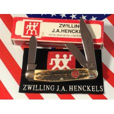 Vintage J A Henckels 3 Blade Stockman Pocket Knife (HK-2-S) with Super Stag Handles -NOS w/ Box