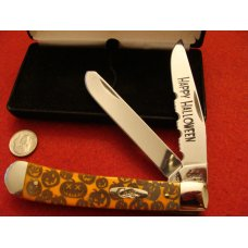 Case Halloween Trapper 6254 SS quotPumpkin Carverquot with Etched Orange Bone Handles 2006