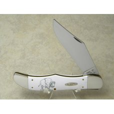 Case XX USA 3 Dot 1997 Bison Scrimshawed White Composition 4165 12 SS Folding Hunter Knife
