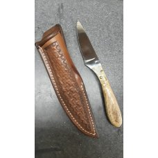 Drop Point Custom Made Hunting Knife and Sheath.