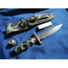 Vintage Utica Survival Knife camo pattern  #45031 With Sheath & sharpening stone. Made in Japan!!!