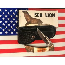 Vint Parker IMAI K-266 Lockback Hunter Knife w A Sea Lion Blade Etching -Orig Sheath & Box -NOS