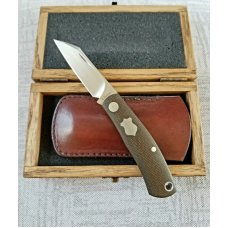 "Vetrov Custom Native Knife ,NEW, OD Micarta, 3.625"",M390,slip & box, original Native designer"