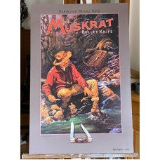 "Remington (Dupont) Bullet Knife Poster ""Muskrat"" ""A Pack of Trouble"" by Larry W. Duke 1988"