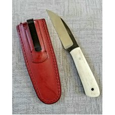 "Weyand Fixed blade, EDC. 7"" overall, 1080/1085 steel,  natural bone scales..full tang ..sheath.5ozs"