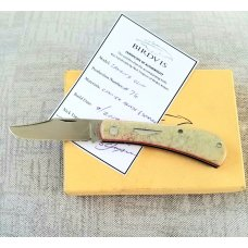 "Birdvis Lanny Clip Knife, 3.75"" Ivory paper Micarta, red G10 liner box,coa dob 1/2019 its on Instag"