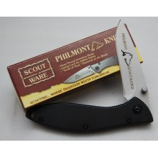 "BSA Philmont Scout Ranch Pocket Knife In Mint Condition With Black Stainless Steel Covers 4"" (600)"